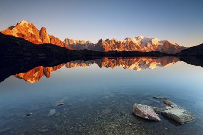 Alpine Lake with Mount Blanc Massif in the Sunset, Chamonix