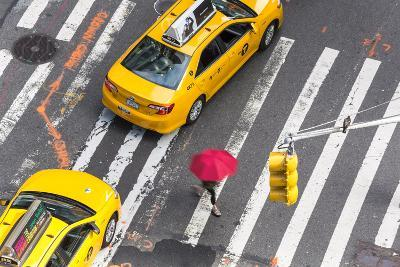Yellow Taxi Cabs and Crossing, Overhead View, New York, Manhattan, New York, USA