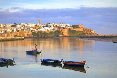 Harbour and Fishing Boats with Oudaia Kasbah and Coastline in Background, Rabat, Morocco