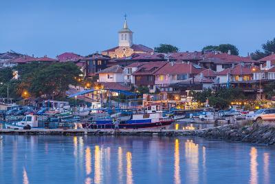 Bulgaria, Black Sea Coast, Nesebar, Waterfront View of Town, Dusk