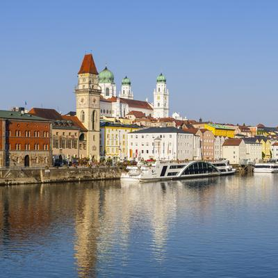 Old Town Skyline and the River Danube, Passau, Lower Bavaria, Bavaria, Germany