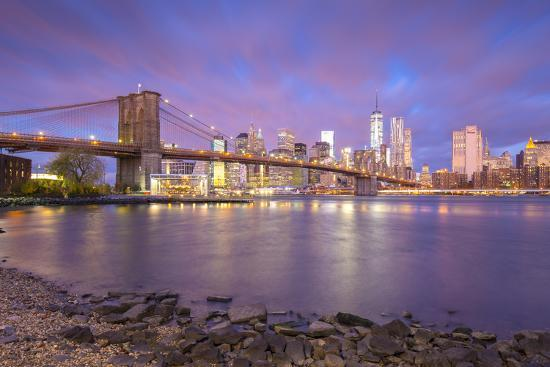 Brooklyn Bridge And Lower Manhattan Downtown New York City New