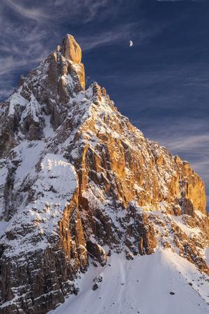 Winter Sunset with Moon over Cimon Della Pala, Trentino Alto Adige, Italy