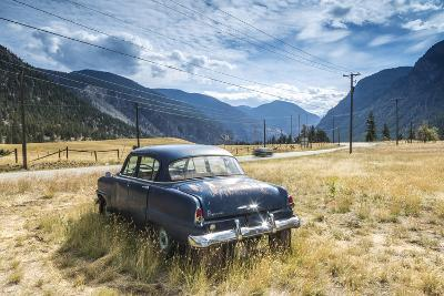 Old Abandoned American Car by Road, British Colombia, Canada