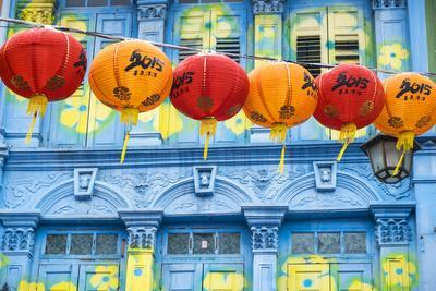 Chinese Lanterns and Colourful Old Building, Singapore