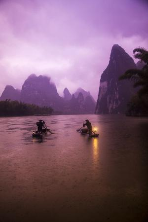 Guangxi Zhuang, Xing Ping, China's Guangxi Zhuang Region Fisherman on the Li River Early Morning