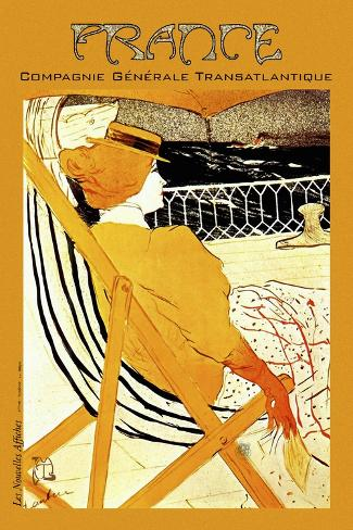 "Transatlantique French Line 24/"" x36/"" Art on Canvas Vintage Travel Art"