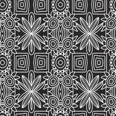 Black and White Boho Floral