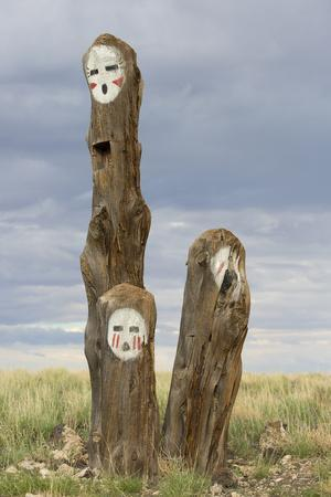 Painted Faces on Trees in the Navajo Reservation, Arizona