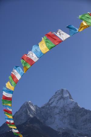 Prayer Flags Frame Ama Dablam Mountain in the Khumbu Valley, Nepal