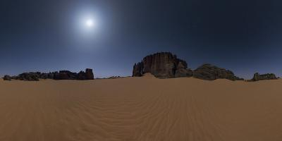 Panoramic of Moonlit Sahara Night with Sand Dunes and Giant Sandstone Cliffs