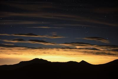 The View of Stars and City Light Pollution over Denver from Trail Ridge Road