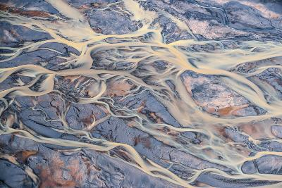 An Aerial of Streams of Glacier Runoff, known as Lahar, in of Southern Iceland