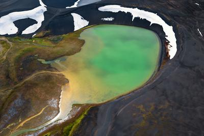 An Aerial over a Crater Lake in the Interior of Southern Iceland