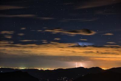 Lightning Strikes over Denver, Colorado