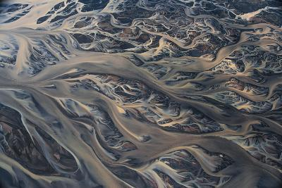 An Aerial View of Streams of Glacier Runoff, known as Lahar, in of Southern Iceland