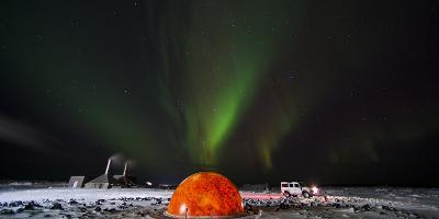 Aurora Borealis in the Sky Above a Planetarium in Iceland