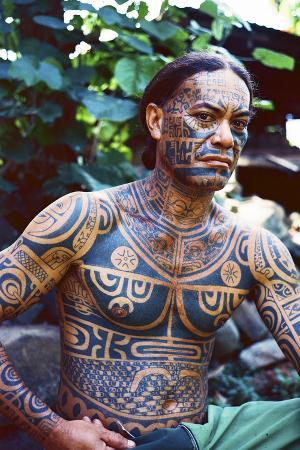 A Man Displays His Traditional, Full Body Tattoos in the Marquesas Islands