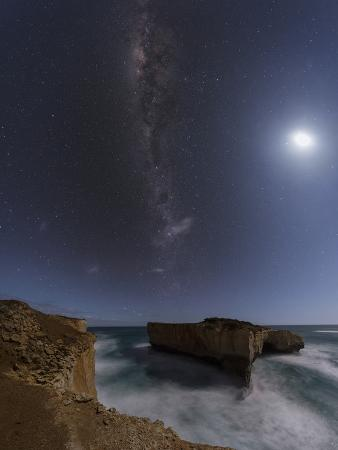 Moon and the Milky Way Above the London Arch in the Port Campbell National Park