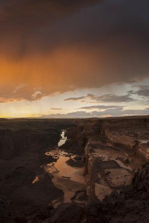 Sunset Above Grand Falls on the Little Colorado River Flowing to the North