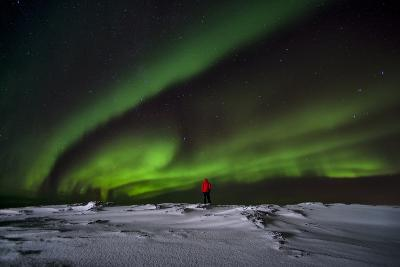 Person Watching Aurora Borealis on Iceland
