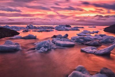 Sunset over Glacier Bay in Iceland