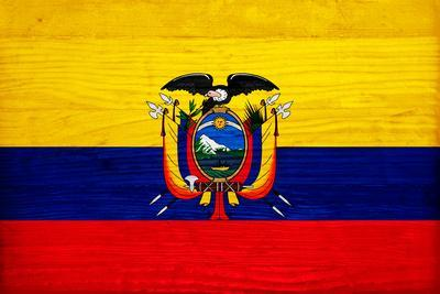 Ecuador Flag Design with Wood Patterning - Flags of the World Series