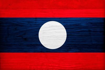 Laos Flag Design with Wood Patterning - Flags of the World Series