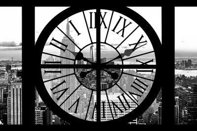 Giant Clock Window - View of Manhattan with the Empire State Building and 1 WTC B&W