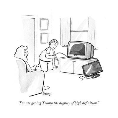 """""""I'm not giving Trump the dignity of high definition."""" - Cartoon"""