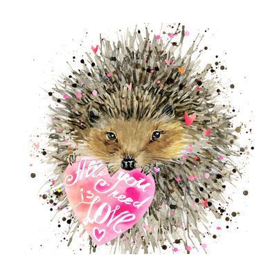 Watercolor Hedgehog. Hedgehog Illustration with Valentines Heart, Splash Watercolor Textured Backgr