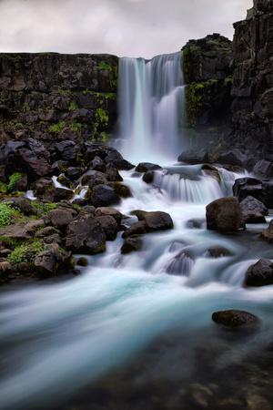 Flowing Waterfall Mood, Öxarárfoss, Iceland