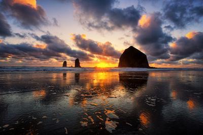 Moody Sunset at Cannon Beach, Oregon Coast