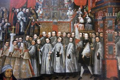Peru, Cusco City, the Archbishop Palace, Paintings of Cuzco School