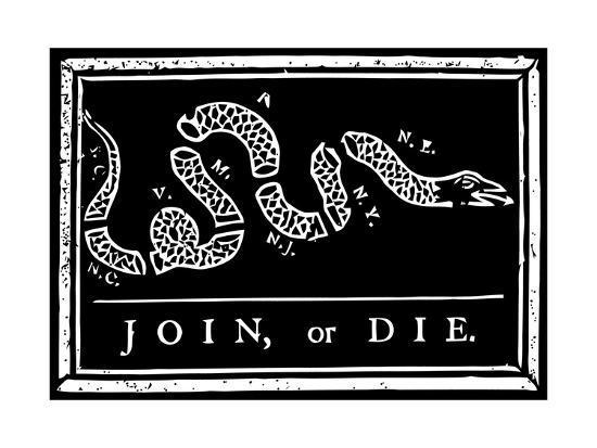 Join Or Die Political Cartoon By Benjamin Franklin Poster Stocktrek Images Allposters Com
