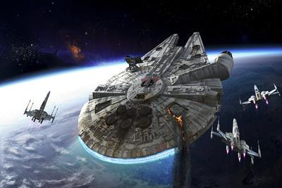 Millenium Falcon Being Escorted by X-Wings
