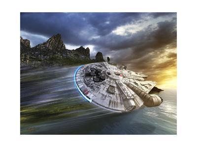 Millenium Falcon in Search of Luke Skywalker Near a Remote Island