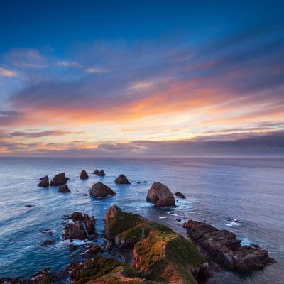 Rocks and Sea Stacks at Nugget Point Otago New Zealand, Sunrise