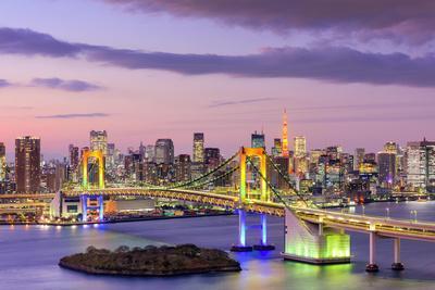 Tokyo, Japan Skyline with Rainbow Bridge and Tokyo Tower