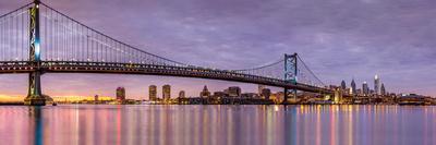 Panoramic View of the Ben Franklin Bridge and Philadelphia Skyline, under a Purple Sunset