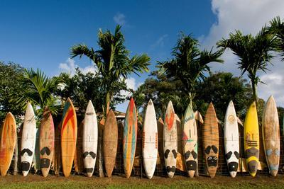 Surfboards Decoration in Garden, Huelo, Hawaii