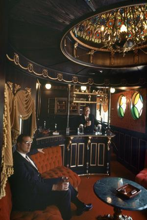 Judge Roy Mark Hofheinz in His Private Railway Car Bar Touring Astroworld Amusement Park, 1968