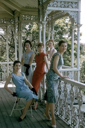 Australian Models Pose on a Porch, Melbourne, Australia, 1956