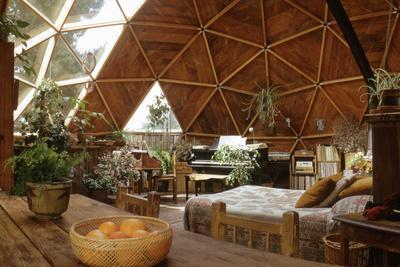 Geodesic Dome House Designed by Cathedralite Domes for Dr Charles Bingham, Fresno, CA, 1972