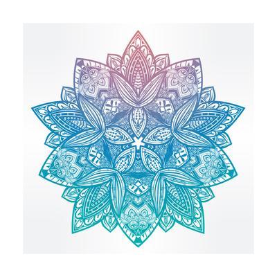 Paisley Floral Lotus Mandala Illustration.