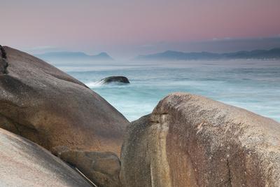 Rock and Sea Praia Da Joaquina Beach in Santa Catarina State at Sunrise