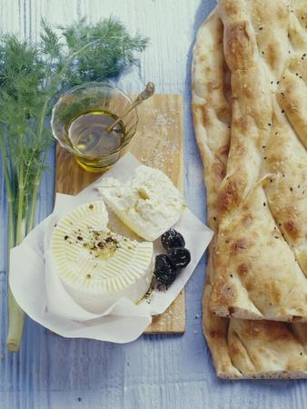 Turkish Flatbread with Sheep's Cheese and Olives