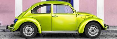 ¡Viva Mexico! Panoramic Collection - The Lime Green VW Beetle Car with Light Pink Street Wall