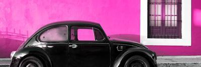¡Viva Mexico! Panoramic Collection - The Black VW Beetle Car with Deep Pink Wall