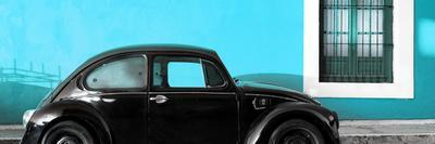 ¡Viva Mexico! Panoramic Collection - The Black VW Beetle Car with Turquoise Wall